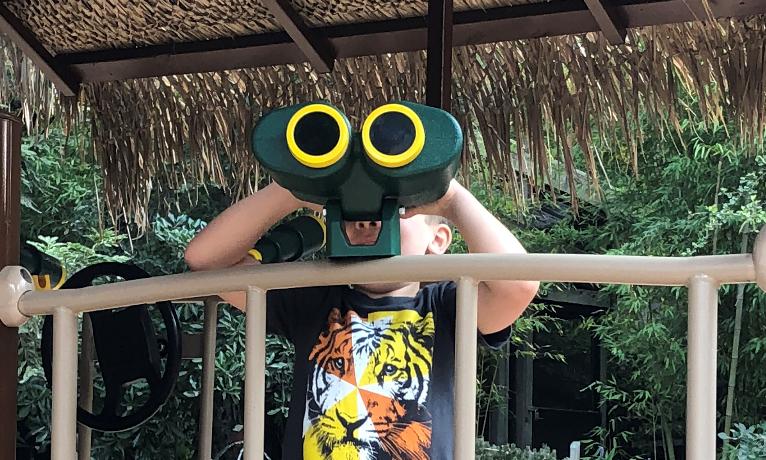 Child with Playground Binoculars