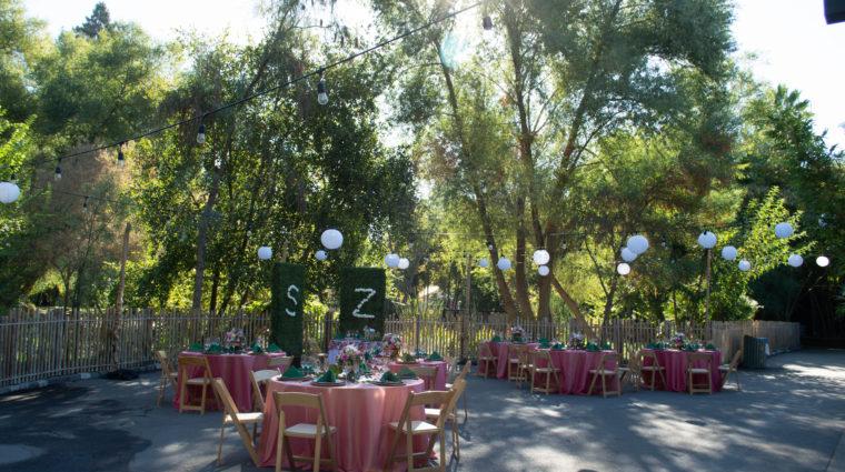 Wedding Reception set-up at the Sacramento Zoo
